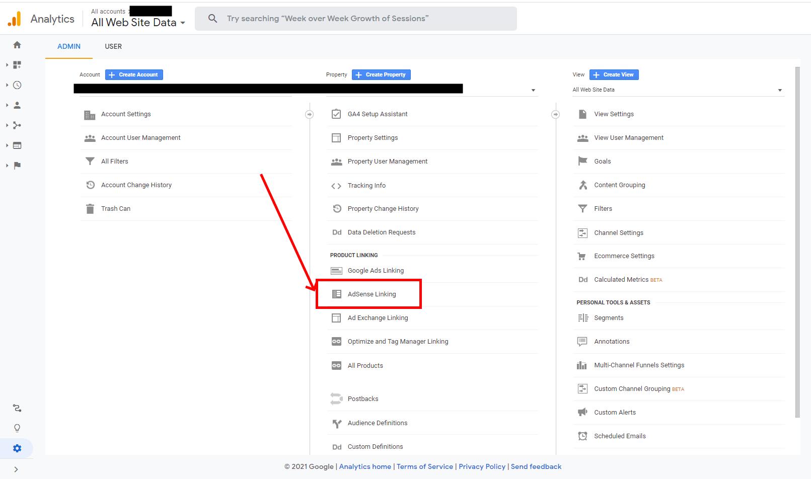ga adsense linking