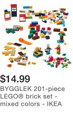 BYGGLEK 201-piece LEGO® brick set - mixed colors - IKEA