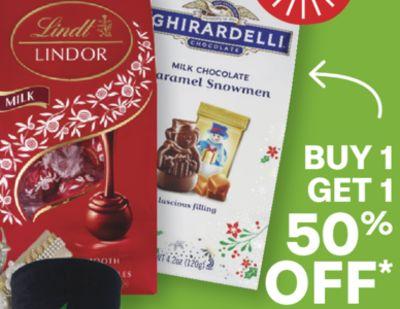 Select Lindt Truffles, Ghirardelli or Godiva chocolates
