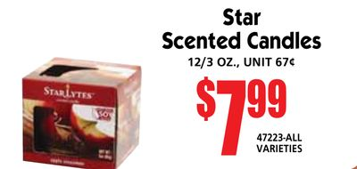 Star Scented Candles 12/3 oz., unit 67¢ $799 47223-all vArIEtIES andise