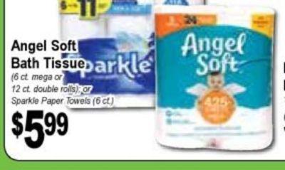 Angel Soft Angel Bath Tissue parkle Soft (6 at mega or 12 ct. double rolls) OF Sparkle Paper Towels (6 ct.) $599