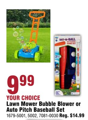 Lawn Mower Bubble Blower or Auto Pitch Baseball Set