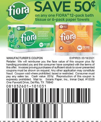 FIORA® 12-Pack bath tissue or 6-Pack Paper Towels