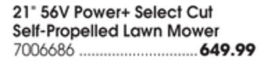 """21"""" 56V Power + Select Cut Self-Propelled Lawn Mower"""