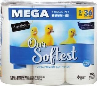 Signature SELECT™ Paper Towels 6-rolls., Signature SELECT™ Bath Tissue 9-Mega rolls.