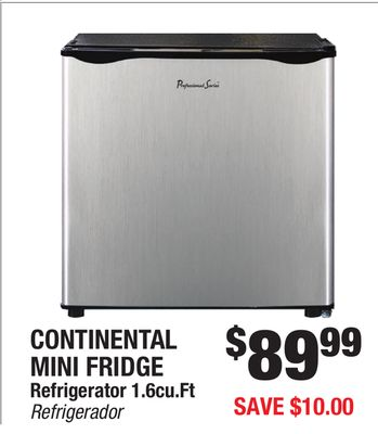 CONTINENTAL MINI FRIDGE Refrigerator 1.6cu.Ft