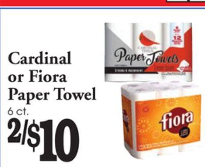 H Cardinal or Fiora Paper Towel 6 ct.2/$10