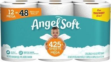Angel Soft Bath Tissue 12-Mega Rolls or Brawny Tear-Square Paper Towels 6-Rolls
