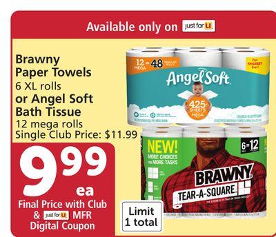 Brawny Paper Towels 6 XL rolls or Angel Soft Bath Tissue 12 mega rolls