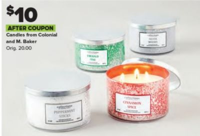 $10 AFTER COUPON Candles from Colonial and M. Baker Orig. 20.00 EMANLA PM cftiees ANAMON 061 llieiens PEPPEAMINT STORS