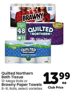 Quilted Northern Bath Tissue 12-Mega Rolls or Brawny Paper Towels 8-XL Rolls
