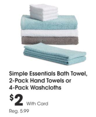 Simple Essentials Bath Towel, 2-Pack Hand Towels or 4-Pack Washcloths