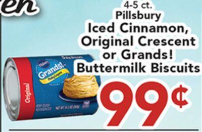 4-5 ct. en Iced Pillsbury Original Cinnamon, Grandst n or Grands! Crescent ie Buttermilk Biscuits ory VEO 99