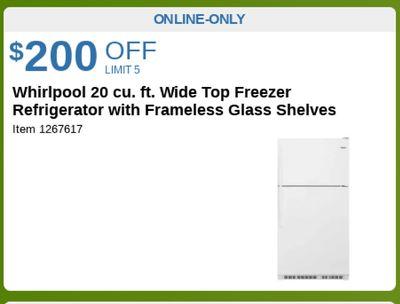 Whirlpool 20 cu. ft. Wide Top Freezer Refrigerator with Frameless Glass Shelves