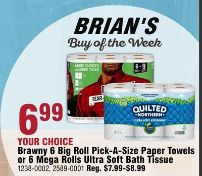 Brawny 6 Big Roll Pick-A-Size Paper Towels or 6 Mega Rolls Ultra Soft Bath Tissue