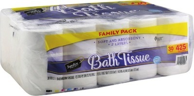 Signature SELECT® Bath Tissue 30 rolls or Brightly Paper Towels 12 rolls