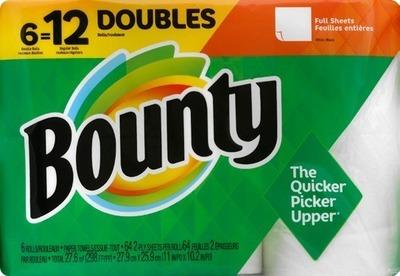 Bounty Paper Towels-6 double roll; Charmin Bath Tissue-9 mega roll or 6 super roll