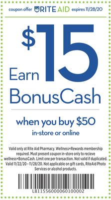 Earn $15 BonusCash when you buy $50