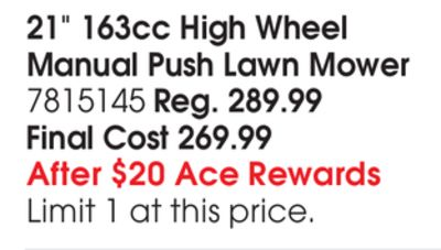 "21"" 163cc High Wheel Manual Push Lawn Mower"