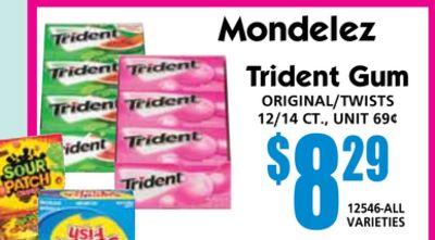 12546-ALL VARIEtIES Mondelez Trident Gum oRIGInAL/twIStS 12/14 Ct., unIt 69¢  savings $829 $1459