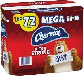 Charmin Bath Tissue 18 Mega Rolls or Bounty Paper Towels 8 Double Plus Rolls