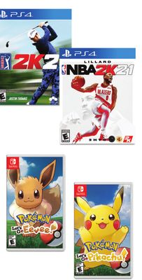 NBA 2K21 Standard Edition, PGA Tour 2021, Pokémon Let's Go Pikachu or Pokémon Let's Go Eevee Game