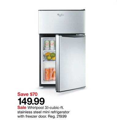 Whirlpool 3.1-cubic-ft. Stainless Steel Mini Refrigerator with Freezer Door