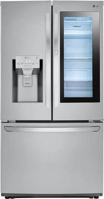 LG 26 Cu. Ft. InstaView Door-in-Door French Door Refrigerator, 6.3 Cu. Ft. Electric Range, 14 Place Setting QuadWash Dishwasher or 2.0 Cu. Ft. 1000W OTR Microwave