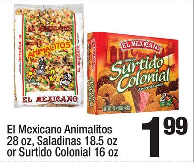 El Mexicano Animalitos 28 oz, Saladinas 18.5 oz or Surtido Colonial 16 oz