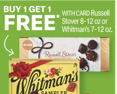 Russell Stover 8-12 oz or Whitman's 7-12 oz