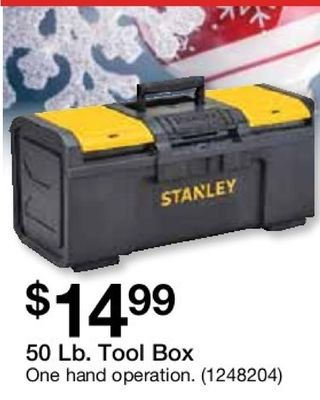 e STANLEY $1499 50 Lb. Tool Box One hand operation. (1248204)