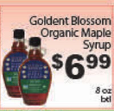 Goldent Blossom Organic Maple Syrup $699 99 8 oz btl