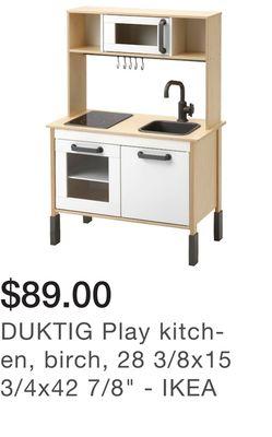 "DUKTIG Play kitchen, birch, 28 3/8x15 3/4x42 7/8"" - IKEA"