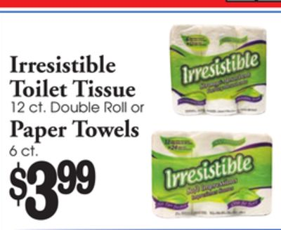 Irresistible Irresistible Toilet Tissue 12 ct. Double Roll or Paper Towels ct. the 6 $399 Irresistible on Drive