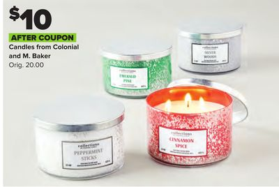 $10 AFTER COUPON Candles from Colonial and M. Baker Orig. 20.00
