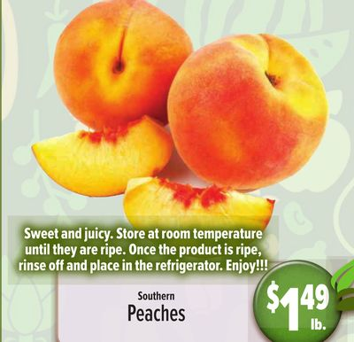 Sweet and juicy. Store at room temperature until they are ripe. Once the product is ripe, RINSE off and place in the refrigerator. Enjoy!!! Peaches $149 Southern lb.