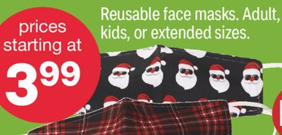 Reusable face masks. Adult, kids, or extended sizes