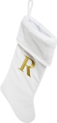 cream monogram christmas stocking 20in - R