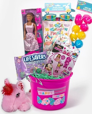 """Easter Pail, 3-oz. Easter Grass, 18-ct. Fillable Eggs, 3.5-oz. Marshmallow Twists, LifeSavers® 3.2-oz. Spring Mix Hard Candy, 11"""" Fashion Doll with Accessories, Glitter Bunny Glasses, Disney® Dough Kits and Plush Unicorn"""