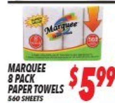 Maree 300 MARQUEE 8 PACK PAPER TOWELS $599 560 SHEETS