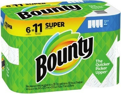 Charmin Bath Tissue 9 Mega Rolls Bounty Paper Towels 6 Super Rolls Downy Unstopables 14.8 oz Beads Fabric Softener 64 oz Wrinkle Guard or Infusion Bounce, Gain Fabric Softener 240 ct sheets Laundry Detergent 100 oz Flings 18 ct or 35 ct